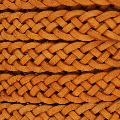 Flachriemen Rindsleder geflochten, 200cm (vorgeschnitten), 10x2mm, ORANGE