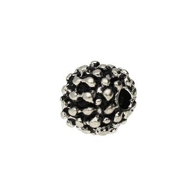 Perle, innen 1mm, 6x7mm rund, Metall, silberfarben