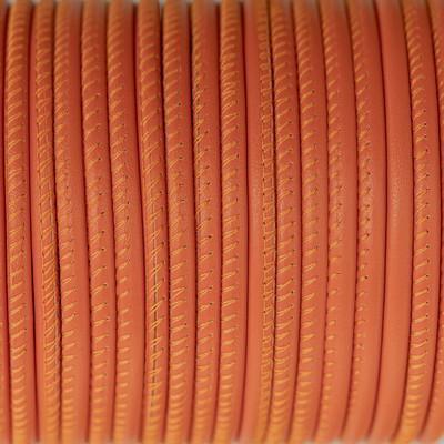 Nappaleder rund gesäumt, 100cm, 4mm, ORANGE