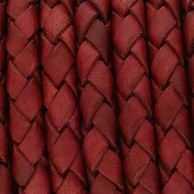Lederband rund geflochten, 100cm, 6mm, WEINROT Vintage
