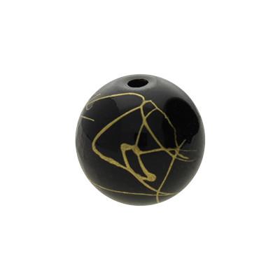 Glasperle, innen 1mm, 12mm, SCHWARZ mit goldfarbener Verzierung
