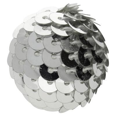 Perle, innen 3mm, Ø 20mm, silberfarben, Pailletten