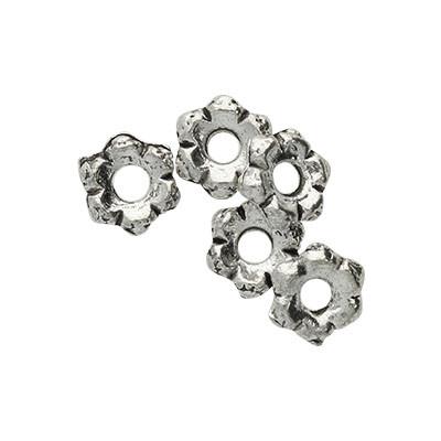 verzierte Perlen (5 Stück), innen 2mm, 6x1mm, antik-silberfarben, Metall