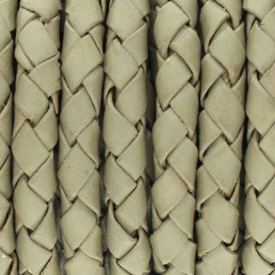 Lederband rund geflochten, 100cm, 5mm, KHAKIGRAU