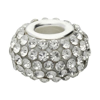 Großlochperle mit Straßsteinen, innen 5mm, 15x10mm, kristall, Metall