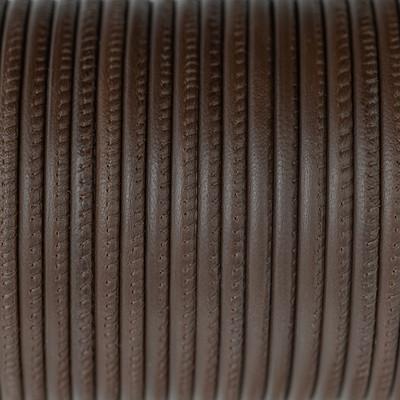 Nappaleder rund gesäumt, 100cm, 4mm, NUSSBRAUN