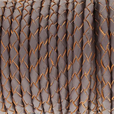 Lederband rund geflochten, 100cm, 4mm, DUNKELGRAU