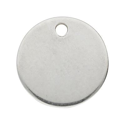 Anhänger (Plättchen), rund, Ø 12mm, Edelstahl
