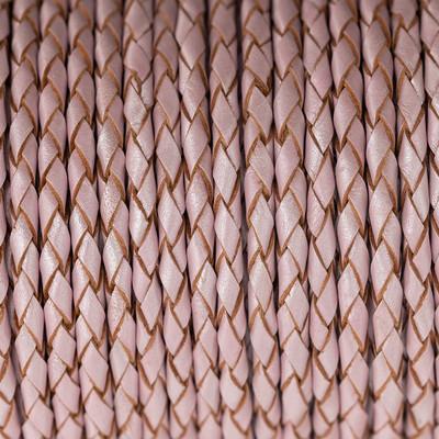 Lederband rund geflochten, 100cm, 4mm, METALLIC BABYROSA mit Naturkanten