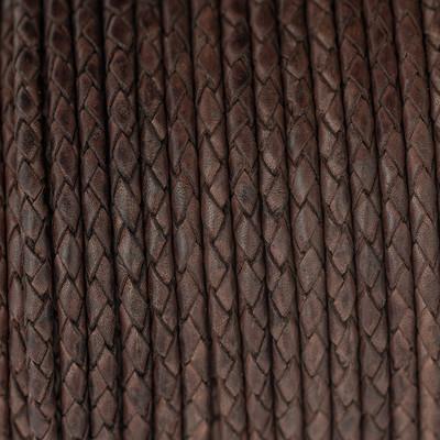 Lederband rund geflochten, 100cm, 4mm, DUNKELBRAUN Vintage