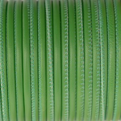 Nappaleder rund gesäumt, 100cm, 4mm, GRAS GRÜN