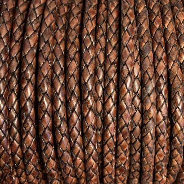 Premium Lederband rund geflochten, 100cm, 8mm, ANTIK ROTBRAUN meliert