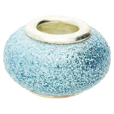 Großlochperle in Sternenstauboptik, innen 4,5mm, 14x9mm, hellblau, Metall