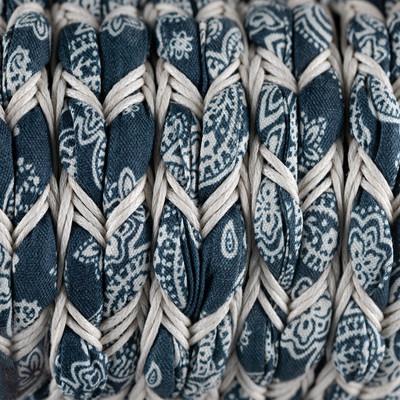 Ethnoband mit gewachster Baumwolle, 100cm, ~16x5mm Flachriemen geflochten, NAVY-WEISS