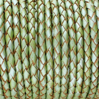 Lederband rund geflochten, 100cm, 3mm, METALLIC PASTELL GRÜN mit Naturkanten