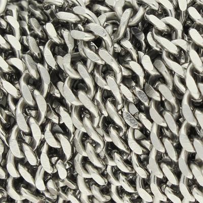 Schmuckkette, Panzerkette, 5mm breit, 100 cm lang, Edelstahl, silberfarben