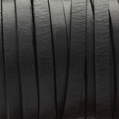 Flachriemen Rindsleder, 100cm, 5x2mm, SCHWARZ