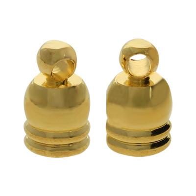 Endkappe mit Öse (2 Stück), 5x8mm, innen 3,5mm, Metall, goldfarben