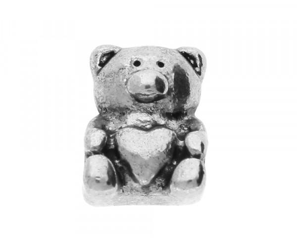 "Großlochperle ""Teddy-Bär"", innen 4mm, 13x10x9mm, antik silberfarben, Metall"