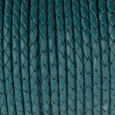 Lederband rund geflochten, 100cm, 8mm, TINTENBLAU