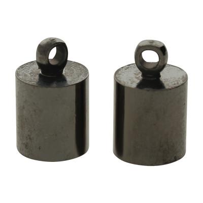 Endkappe mit Öse (2 Stück), 12x8mm, Loch-Ø 7,0mm, Metall, schwarz