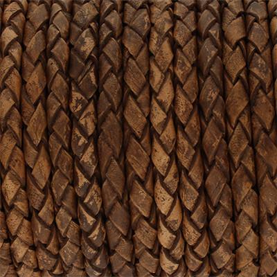 Lederband rund geflochten, 100cm, 4mm, TABAK