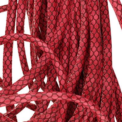 Kunstleder rund gesäumt (100cm), 6,00mm breit, BEERE mit Schlangenprägung