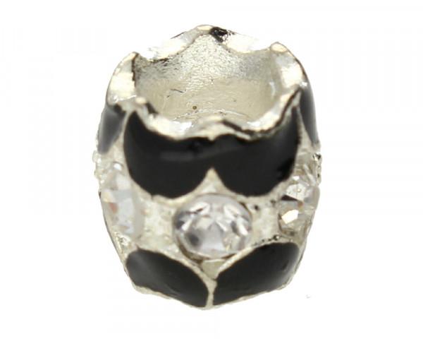 Großlochperle mit Straßsteinen, innen 5mm, 11x10mm, kristall-schwarz, Metall