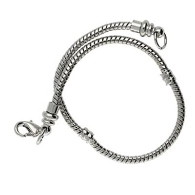 Armband für Charms mit Karabinerverschluss, Ø 3mm, Gesamtlänge ca. 20,5cm, Metall, platinfarben