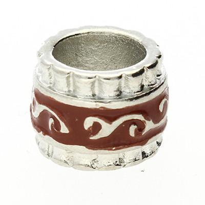 Großlochperle, innen 7mm, 9x12mm, silber-braun, Metall mit Emaille