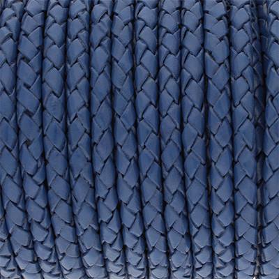 Lederband rund geflochten, 100cm, 5mm, BLAU