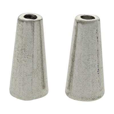 Zierkappe (2 Stück), 14x7mm, innen 5mm, Metall, silberfarben