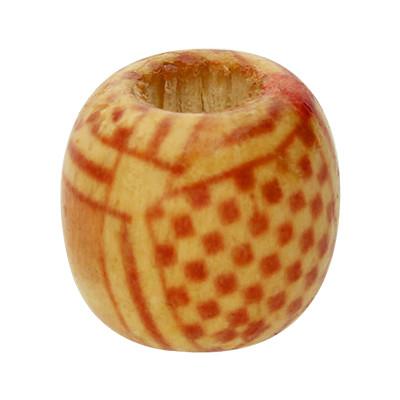 Holzperle, 12mm rund, innen 5mm, cognacfarben mit Verzierung