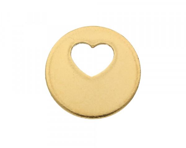 Anhänger, Herz, 12,5 x 1mm, goldfarben, Edelstahl