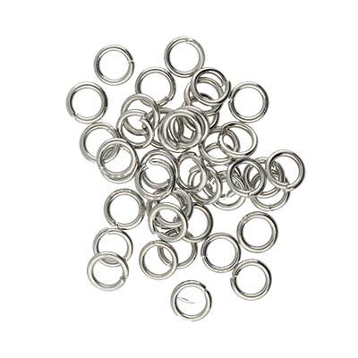 Bindering, rund, 10 Stück, 6mm, innen 4,5mm, Metall, platinfarben