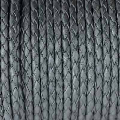 Lederband rund geflochten, 100cm, 4mm, METALLIC GRAPHITGRAU