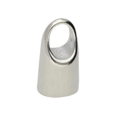 Endkappe mit Öse, 16x9mm, Loch-Ø 7,0mm, Metall, platinfarben