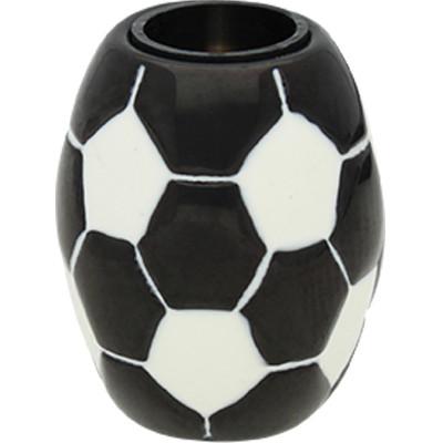"""Magnetverschluss, 6mm, 16x13mm, Edelstahl, """"Fußball"""", schwarz-weiß"""