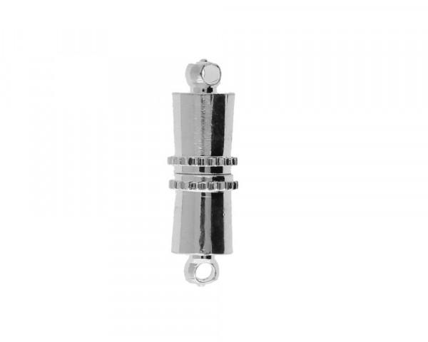 Magnetverschluss (5 Stück), Öse 1mm, 16x5mm, Metall, silberfarben