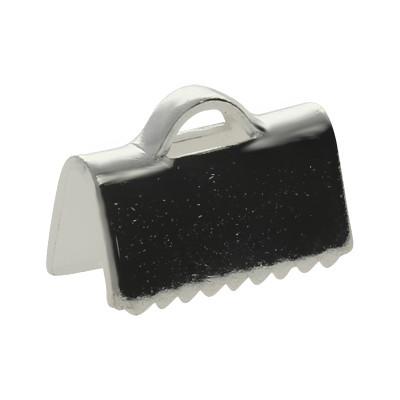 Flache Endkappe, 10x7mm, Metall, silberfarben