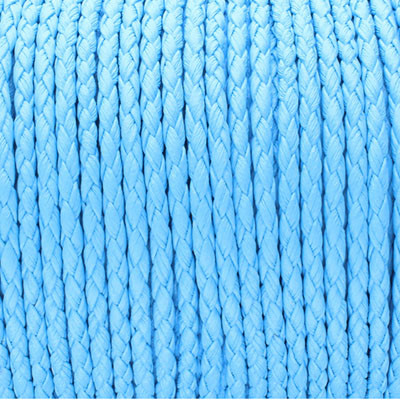Kunstleder rund geflochten (100cm), 3mm breit - HELLBLAU