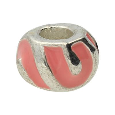 Großlochperle, innen 5mm, 11x8mm, pink, Metall