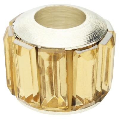 Großlochperle, 12x10mm, Loch 5mm, Acryl und Metall, weissgoldfarben