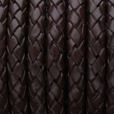 Lederband rund geflochten, 100cm, 5mm, DUNKELBRAUN