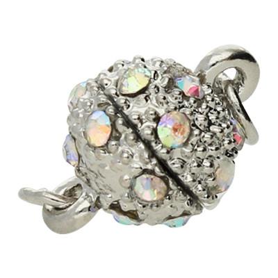 Magnetverschluss mit Strasssteinen, Öse 1,5mm, 13x8mm, Metall, silberfarben