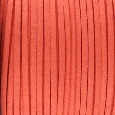 Textilband in Wildlederoptik (100cm), 3,0mm breit - LACHSROT