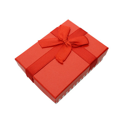 Geschenkbox mit Deckel und Schleife, 89x70x28mm, rot-weiss