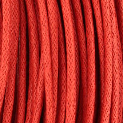 Gewachstes Schmuckband aus Baumwolle, 100cm, 2mm breit, rot