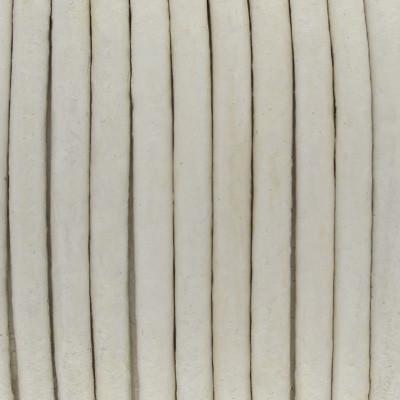 Rundriemen, Lederschnur, 100cm, 3mm, ELFENBEIN