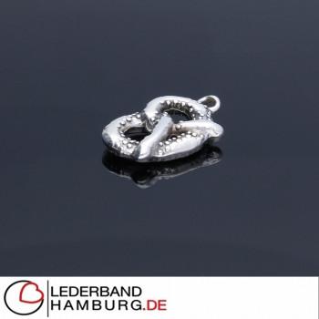 "Anhänger, ""Bretzel"", 18x12mm, antik-silberfarben, Metall"